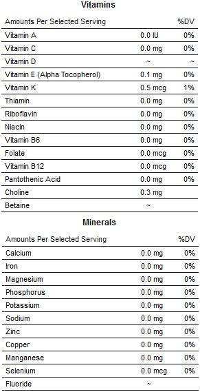 Vitamīni un minerālo kokosriekstu eļļā praktiski nav atrodami.
